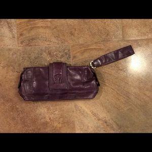 Distressed Purple Leather Wristlet